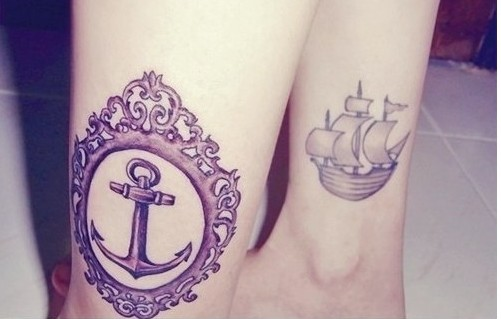 Pretty Nautical Tattoos On Both Legs