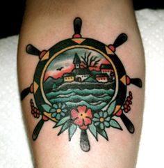 Pretty Nautical Wheel Tattoo Picture