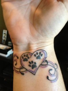Pretty Paw Prints Heart And Swirl Tattoos On Inner Wrist