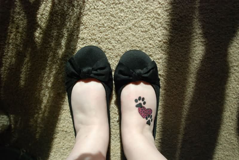 Pretty Pink Heart With Paw Print Tattoos On Foot