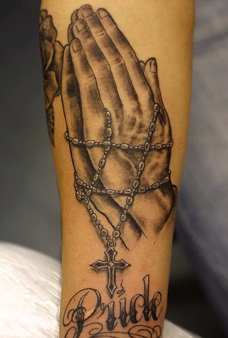Pride Praying Hands Rosary Tattoos