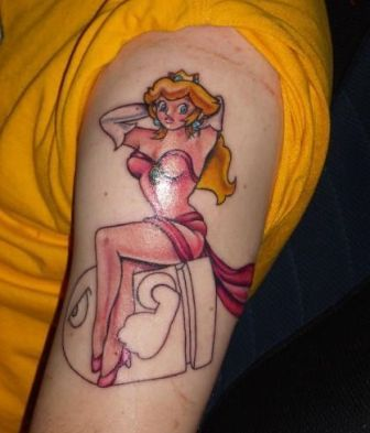 Princess Peach In Sexy Dress Tattoo On Biceps