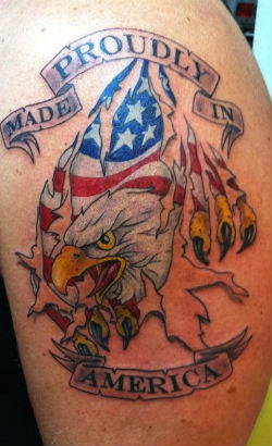 Proudly American Patriotic Tattoo On Arm