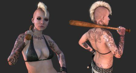 Punk Chick With Video Game Tattoos