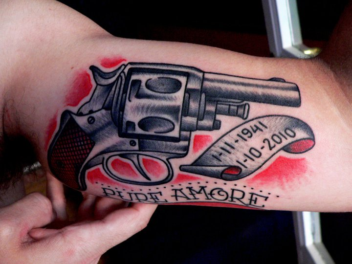 Pure Amore Pistol Tattoos Inner Biceps