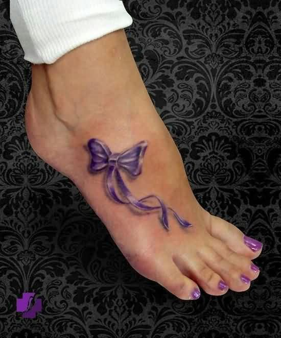 Purple 3D Bow Tattoo On Foot