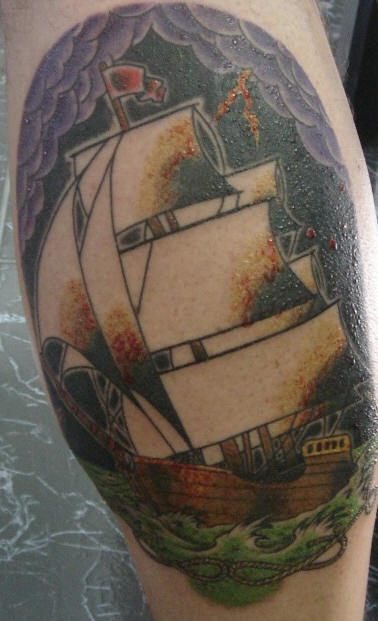 Purple Clouds And Sailing Ship Tattoos