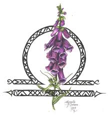 Purple Flowers And Zodiac Symbol Tattoo Designs