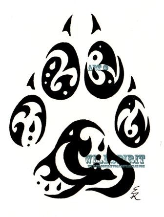 Raincatcher Wolf Paw Tribal Tattoo Sample