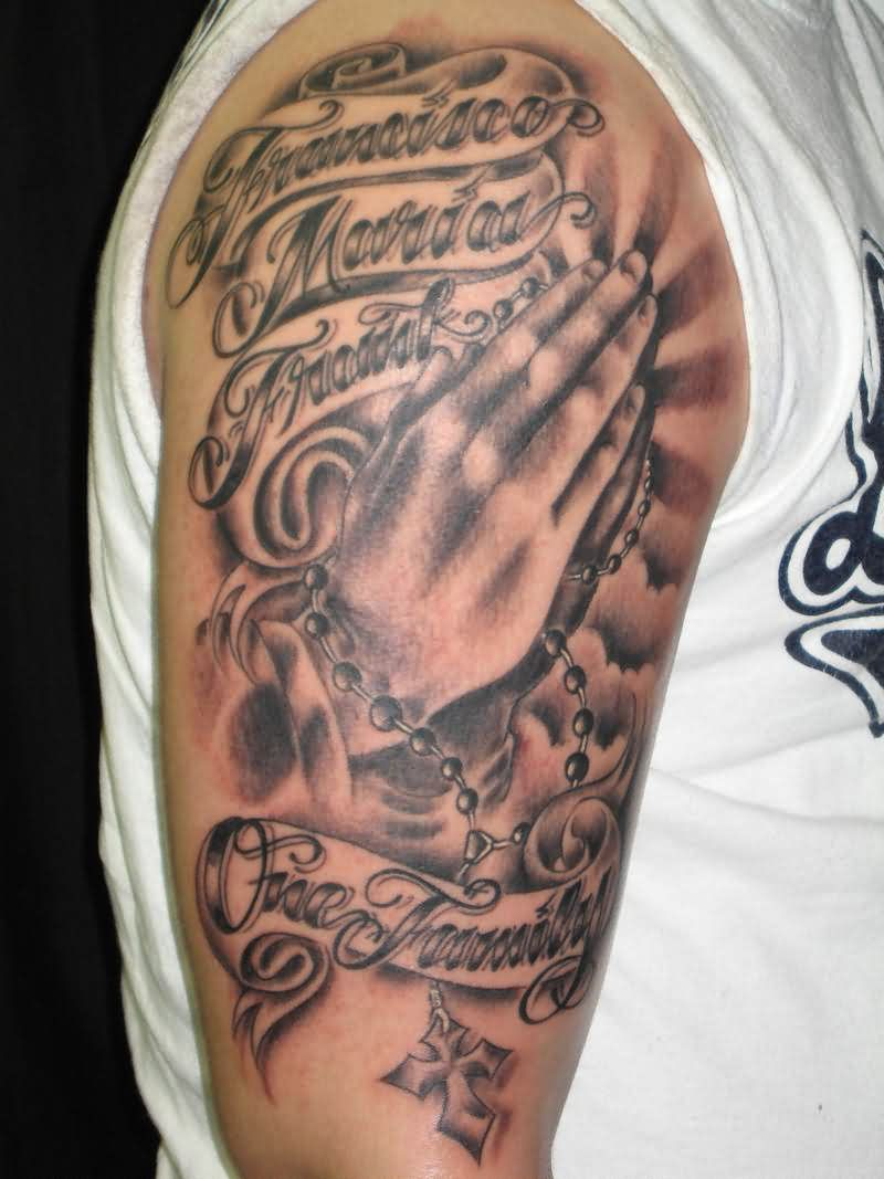 Rays Praying Hands Rosary Tattoos On Arm
