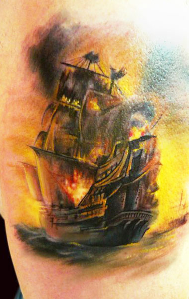 Realism Burning Ship Tattoo