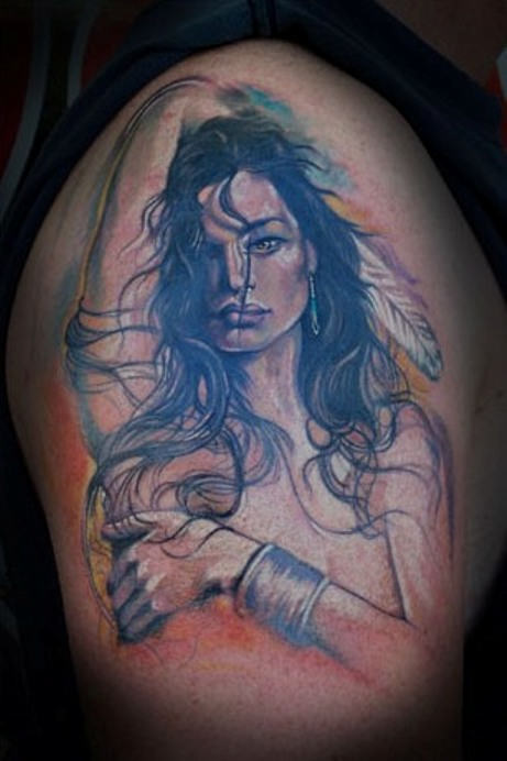 Realism Color Shade Native American Girl Tattoo