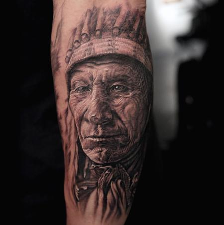 Realism Native American Chief Tattoo On Arm