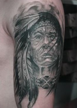Realism Native American Tattoos On Upper Arm