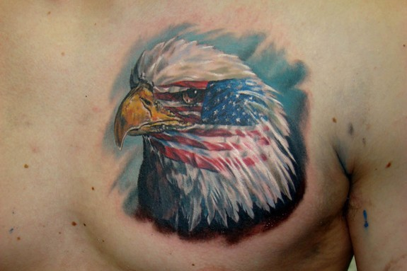 Realism Patriotic Eagle Head Tattoo On Chest
