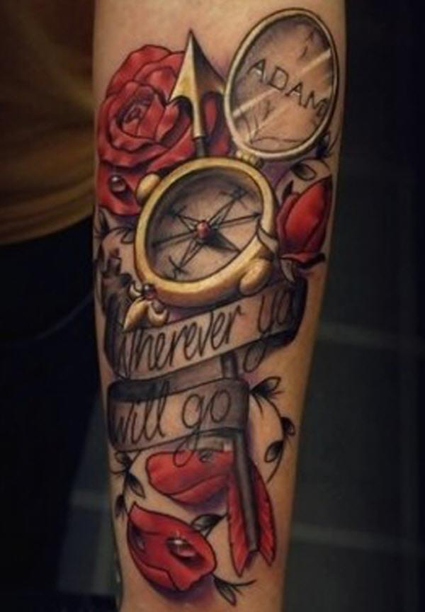 Realism Roses And Compass Tattoos