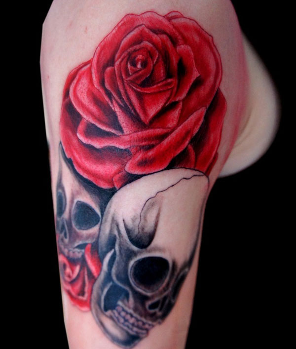 Realistc Rose And Skull Tattoos On Arm