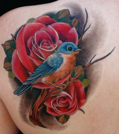 Realistic Bird On Red Rose Tattoos Behind Shoulder