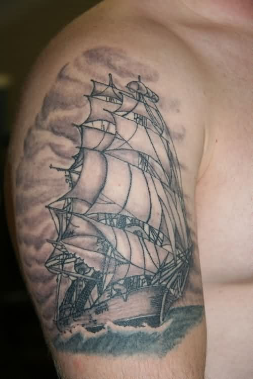 Realistic Clouds And Sailing Ship Tattoos On Biceps