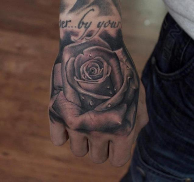 Realistic Drops On Grey Rose Tattoo On Hand