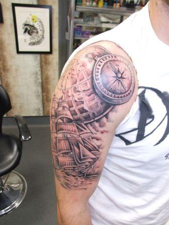 Realistic Grey Nautical Tattoos For Guys