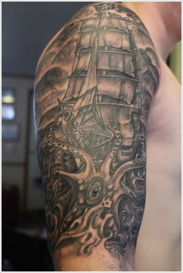 Realistic Grey Nautical Tattoos On Half Sleeve