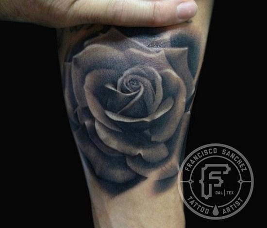 Realistic Grey Rose Tattoo For Everyone