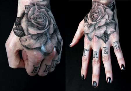 Realistic Grey Rose Tattoo On Hand