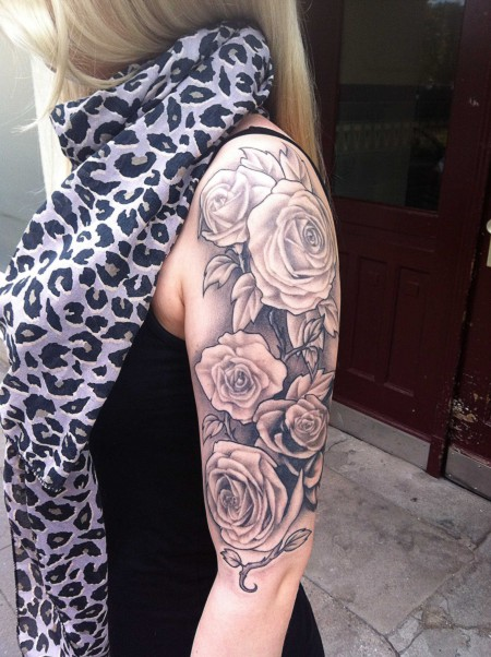 Realistic Grey Roses Tattoos On Half Sleeve
