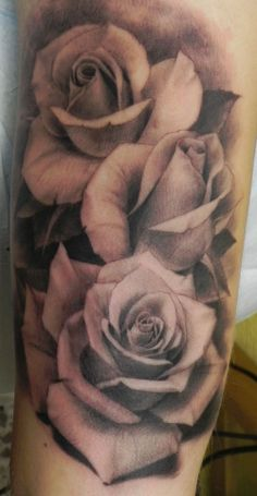 Realistic Grey Roses Tattoos