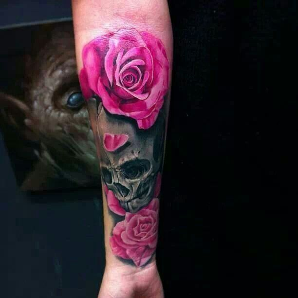 Realistic Pink Roses And Skull Tattoos On Arm