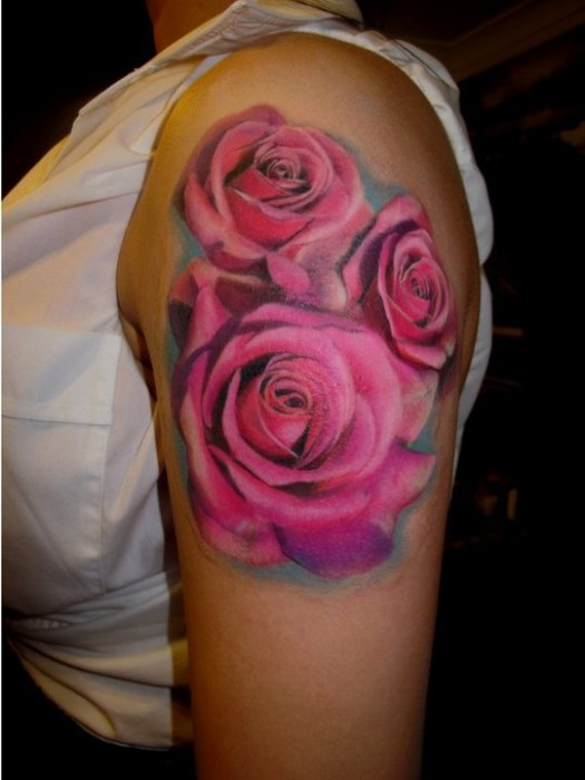 Realistic Pink Roses Tattoos On Upper Arm
