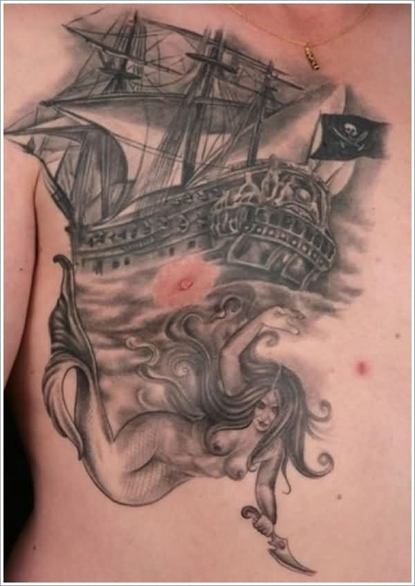 Realistic Pirate Ship And Mermaid With Knife Tattoos On Right Chest