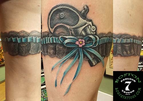 Realistic Pistol Blue Ribbon Belt Tattoos