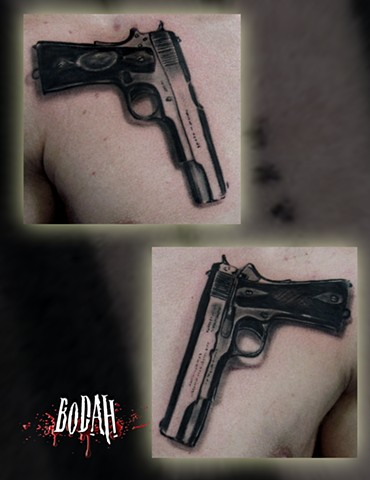 Realistic Pistol Tattoos Images