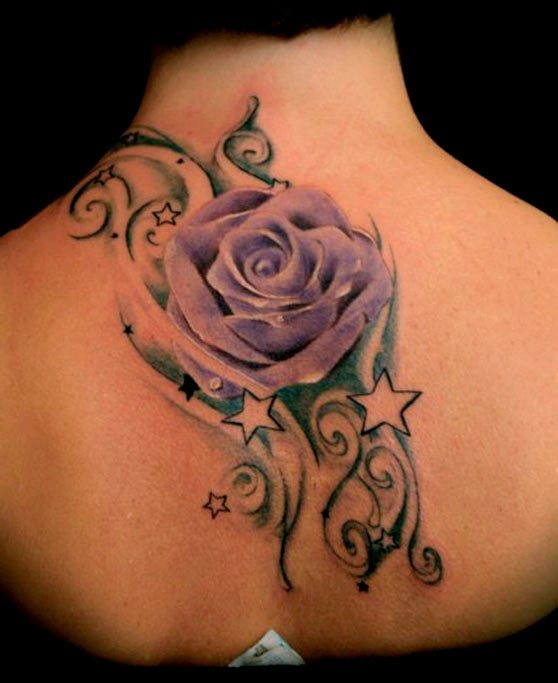 Realistic Purple Rose And Star Tattoos