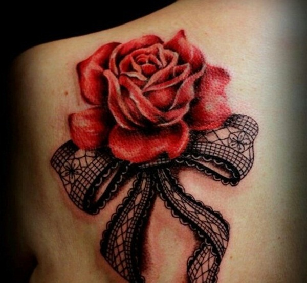 Realistic Red Rose And Bow Tattoos Behind The Shoulder