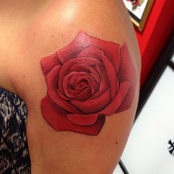 Realistic Red Rose Flower Tattoo On Front