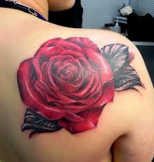 Realistic Red Rose Tattoo Behind Shoulder