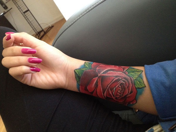 Realistic Red Rose Tattoo On Forearm
