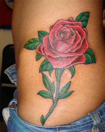 Realistic Red Rose Tattoo On Waist