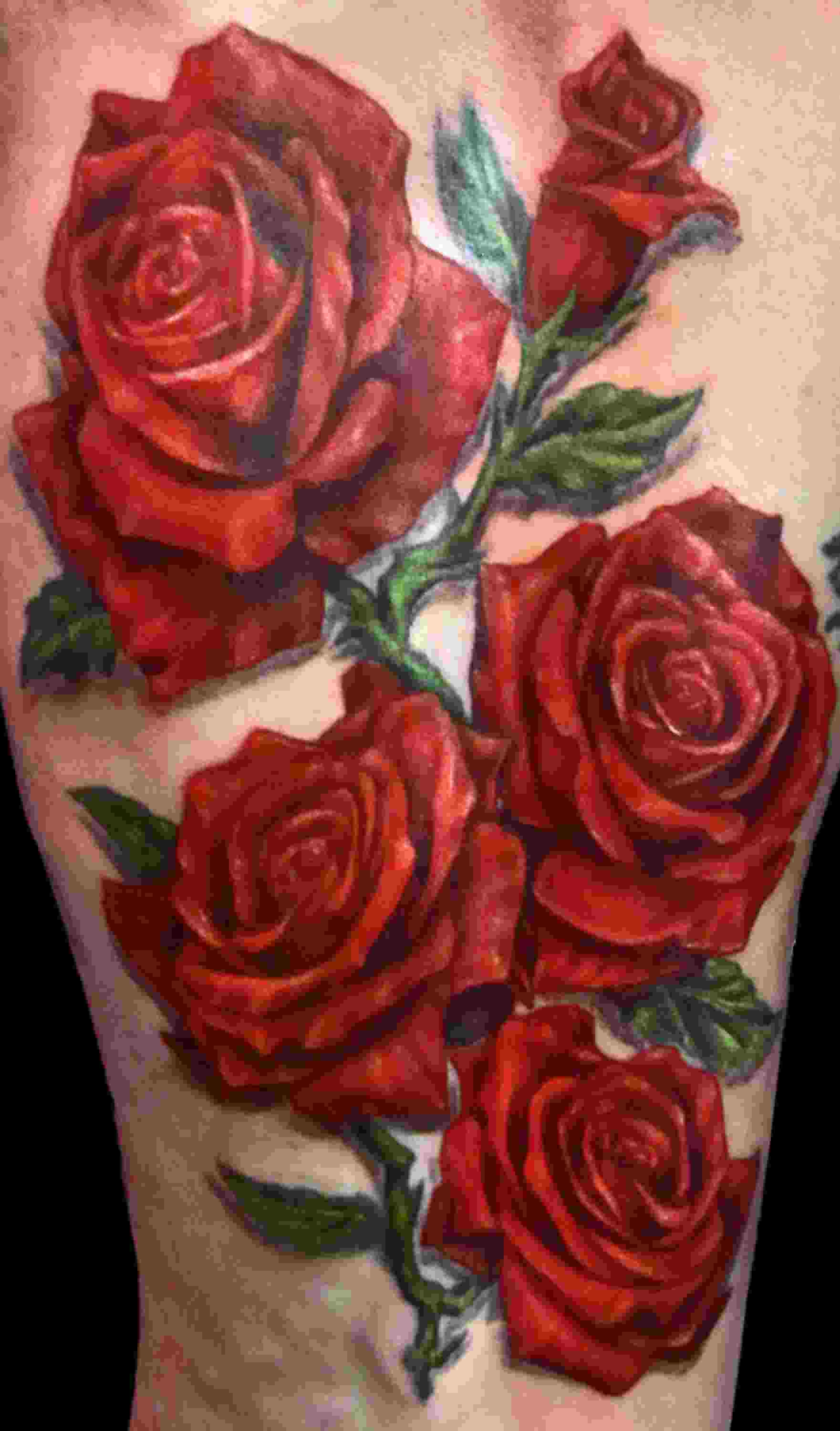 Realistic Red Roses Tattoo