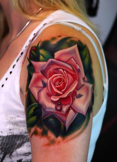 Realistic Rose Tattoo Fashion For Girls