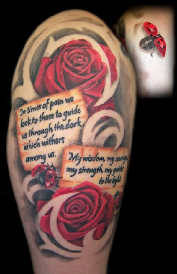 Realistic Roses Quotes And Tribal Tattoos On Arm