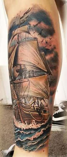 Realistic Sailing Ship Leg Tattoo Style For Guys