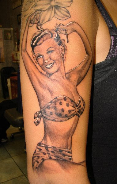 Realistic Smiling Pin Up Girl Tattoo On Arm