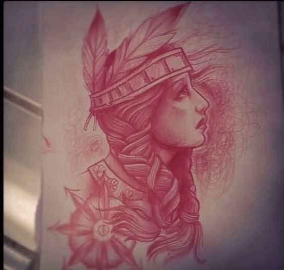 Red Native American Tattoo Sketch