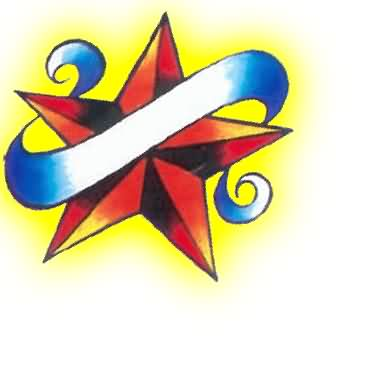 Red Nautical Star And Curly Banner Tattoo Design