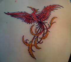 Red Phoenix With Open Wings Tattoo On Back