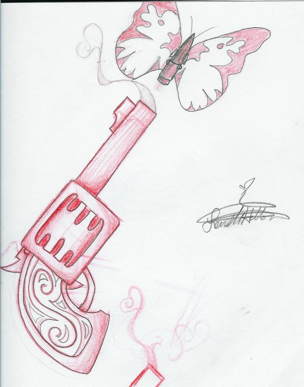 Red Pistol And Tribal Butterfly Tattoo Sketch